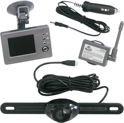 Motorsports Safeguard your loved ones and pets from harm with this wireless system. The transmitter and water-resistant camera easily attach to your license plate; installation takes minutes. The full-color, high-resolution LCD monitor rides on your windshield or dash with a suction-cup mount. Great for preventing damage to your vehicle, this system gives you a crucial vantage point for backing up in crowded parking lots, towing large trailers and solo trailer hook-ups. Transmits up to 30 feet. All mounting hardware included. Available: 2.5 screen, 3.5 screen. - $129.99