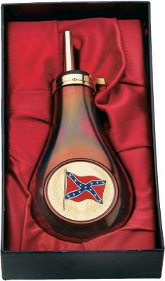 A replica powder flask similar to what might have been carried by a soldier from the South during the Civil War. Its copper body sports an antiqued finish. The easy-to-use brass cap is equipped with a .44-caliber spout. Holds approximately 4 oz. of black powder. Decorated with a Confederate flag. - $49.88
