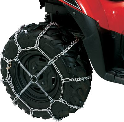 Motorsports Get extra traction when rubber tires cant get a grip with Peerless ATV/UTV Tire Chains. V-bar chain gives more bite than ever before, pushing or pulling. FREE ATV/UTV Chain Tightener with chain purchase. Sold per pair. Note: Chain Tightener must be purchased separately when buying model 755. Model Tire Size Chain Tightener Included 130 22x10-8; 22x10-9; 22x8-10; 22x9-10 22x10-10; 23x7-10; 23x8-10 23x10-10; 23x8-11; 24x11-8 Yes 330 24x11-8; 24x11-9; 24x13-9; 24x11-10 24x11.5-10; 24x11-12; 25x11-9; 25x12-9 25x13-9; 25x10-10; 25x11-10; 25x12-10 25x10-11; 25x10-12; 25x11-12; 26x10-12 Yes 530 22x11-9; 22x11-10; 23x11-10 24x9-11; 24x10-11; 24x10-12 Yes 630 24x8-11; 24x9-12; 25x8 - $9.99