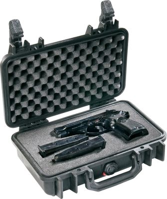 Entertainment Give your fine firearms the same protection while traveling that the military and professional photographers rely on to keep their valuable gear clean, dry and safe. Certified with NATO, (North Atlantic Treaty Organization) the Pelican Single-Pistol Case meets the standards of both the United States and European military forces. To meet the necessary criteria, the case is subjected to an extensive battery of standardized endurance and quality tests designed to simulate extreme situations. Pelicans innovative open-cell core and solid-wall construction absorbs shock and bumps, so your guns and optics wont. Automatic Purge Valve with a GORE-TEX membrane releases air pressure but keeps moisture out. A waterproof neoprene O-ring seal and a tongue-and-groove fit keeps moisture from penetrating through the opening. New easy-open Double-Throw latches combine a C-clamp with a secondary action that works like a pry bar so they lock tight but release with just a light pull. Color: Black. Color: Black. Type: Hard Cases. - $39.99