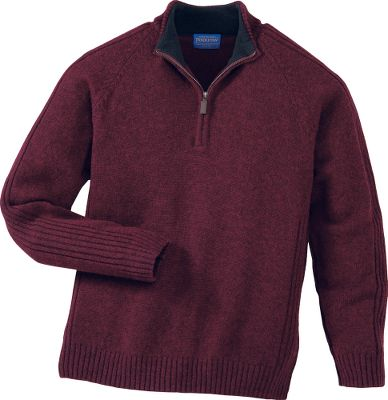 Soft, durable and incredibly warm, this world-class sweater is crafted of 100% Shetland wool, the finest of any wool produced by a British breed. This naturally insulating layer provides a traditional look that works well over shirts and mock T-necks. Machine washable. Imported. Sizes: M-2XL. Colors: Charcoal Marl, Wine Mix. - $89.88
