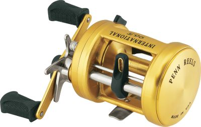 Fishing Penns International Baitcasting Reels feature a lightweight, one-piece aluminum frame for superior strength without extra weight. The spool is machined from solid bar-stock aluminum. Both smooth, contoured sideplates are forged-machined aluminum. The frame, spool and sideplates are finished with a gold-anodized finish. Machined stainless steel main and pinion gears deliver unparalleled strength. The 975LD and 975CSLD have a powerful lever drag system. Color: Stainless Steel. - $299.99