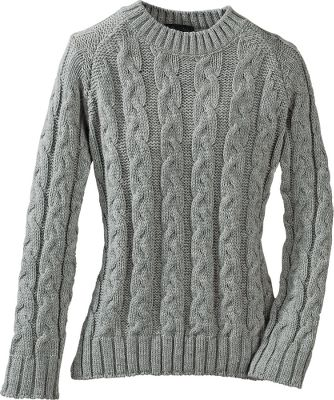 Made out of the luxurious and time-honored softness of 100% merino wool. Thick and warming, this crew-neck sweater is enriched by beautiful cable-knit patterns. Hand wash or dry clean. Made in England. Sizes: S-XL. Colors: Ecru, Mole Grey, Grey. - $19.88