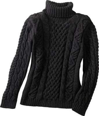 Highlighted by a soft and warm polo neck and detailed with traditional cable and authentic Aran patterns. Luxuriously soft and warm, this sweater is made of 100% merino wool. Hand wash or dry clean. Imported.Sizes: S-XL.Colors: Charcoal, Ecru. - $59.99