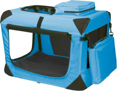Camp and Hike If you enjoy traveling or camping with your pet, youll love the convenience of these lightweight, portable soft crates. When set up, they offer your dog a spacious place to relax. When not in use, they fold flat for easy storage and transport. The folding frame is constructed of rugged, long-lasting steel. The 600-denier nylon shell will stand up to years of travel and use. Heavy-duty zippered doors on the top, front and side for easy access. The removable waterproof mat and fleece pad keep your dog comfortable and are easy to clean. Includes two built-in storage pouches for treats, toys or a leash. Imported. Available: 21 Dimensions: 21L x 14-1/2W x 14-1/2H. Color: Ocean Blue 27.5 Dimensions: 27-1/2L x 18W x 21H. Colors: Pink, Red Poppy 30 Dimensions: 29-1/2L x 22W x 24H. Color: Lavender 36 Dimensions: 35-3/4L x 23-1/2W x 27H. Color: Blue Sky 41 Dimensions: 41L x 29W x 28H. Color: Moss Green. Color: Ocean Blue      27. Type: Pet Crates. - $99.99
