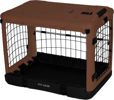 Hunting With doors on each side, this versatile crate can be placed anywhere and easily opened. Plus, a large side door opens up and out of the way like a garage door, so you can leave it open to let your dog come and go. Built-in wheels and a handle make it easy to move from room to room. The blow-molded insulated base is durable and will not crack in cold weather. Because it has rounded corners and no exposed steel edges, it will not damage your vehicles interior or harm your dog. Folds flat for easy storage and transport. Sizes: Small (27L x 18-1/4W x 21-3/4H) , Medium (36-1/2L x 24-1/2W x 27-1/2H), Large (42L x 28W x 28H). - $139.99