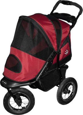 Entertainment If your dog needs a plush enclosed ride while you jog or take a walk, this protective pet stroller is the answer. After entering the rear or front entry, your dog will love the soft fleece pad and safety tether. Rear-wheel shock absorbers soften every bump, and the sporty canopys top and front mesh windows deliver ample ventilation. The ergonomic handle and front fixed-wheel swivels delivering controlled turns and mobility. Design boasts a one-hand folding mechanism, 12 quick-release air tires, a quick-lock foot brake, a large storage basket and a tray with drink holder. Safely and comfortably contains dogs up to 70 lbs. Interior dimensions: 30L x 13W x 22H. Handle height: 41.5. Colors: Burgundy, Sage. Color: Sage. - $229.99