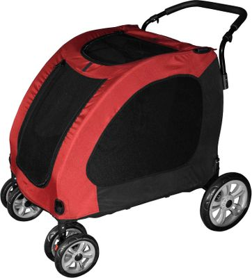 Entertainment Take your dog for a walk without having to worry about him tugging at a leash or chasing other animals. Simply load him up in this easy-rolling stroller and enjoy your outing. The large protective compartment keeps your dog safe, secure and comfortable. The liner is removable so you can keep it fresh and clean. The sturdy frame and heavy-duty, 600-denier nylon material give it the strength to handle dogs up to 150 lbs. Front swivel wheels, shock absorbers and rear brakes make it easy to control on both flat ground and hills. Bugproof mesh keeps air circulating but keeps pests out. A built-in tether keeps dogs secured inside. Easily folds for easy storage and transport. Front entry. Handle height adjustable from 40-1/4 to 42. Colors: Burgundy, Blue Sky. Color: Blue. Type: Pet Carriers. - $229.99