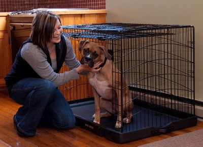 Hunting This steel crate features a unique door design that opens like a garage door for easier access to your pet. Its blow-molded base wont damage delicate surfaces and insulates your pet from excessive heat and cold. Integrated wheels and pull handle provide convenient mobility. Fold-flat design for convenient storage. Sizes: 27L x 18W x 21H 30L x 22W x 24H 36L x 24W x 27H 42L x 28W x 31H Color: Black. Size: 36. Color: Black. - $129.99