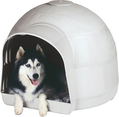 Hunting It's not made of ice, but it's one of the coolest dog houses around. A five-piece igloo design offers element-blocking protection and easy, tool-free assembly. Extended entryway diverts rain runoff to keep the inside dry. Adjustable ventilation port at crown for all-season comfort. Includes wire hanger and crock bowl for food or water. Fits pets up to 25 tall. Dimensions: 27.5H x 35W x 40D. Type: Dog Houses. - $94.88