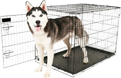 Hunting Dogs are natural den animals, so they like their own private space to feel safe and protected. This makes a kennel an effective training tool, and a properly kennel-trained dog is more obedient, better adjusted and happier. Kennels are also ideal for automobile and airline travel. Features sturdy wire construction, rust-resistant black coating and leakproof removable pan. Double-latch door provides security and helps with control while providing easy access. Includes a removable divider panel to create more room as your dog grows and a training booklet.Dimensions: 38.1L x 25.5W x 27.6H.Color: Black. - $89.99