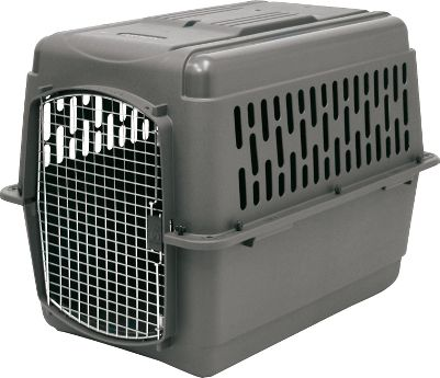 Hunting A safe way to kennel your pet for travel and training. The durable plastic shell comes with heavy-duty hardware thats easy to assemble. Features an easy-open squeeze latch on the metal-wire door and side vents to promote healthy airflow. An interior floor moat keeps your pet dry. Convenient tie-down strap holes allow the kennel to be zip-tied together for reinforcement and added security during airline travel. Meets most airline requirements. Made in USA. Sizes: Intermediate Holds pet from 30 to 50 lbs. Dimensions: 32L x 22.5W x 24H. Large Holds pet from 50 to 70 lbs. Dimensions: 36L x 25W x 27H. Extra Large Holds pet from 70 to 90 lbs. Dimensions: 40L x 27W x 30H. Color: Dark Gray. Size: Large. Color: Dark Gray. - $74.99