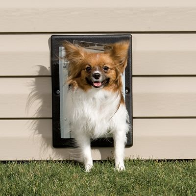 Hunting Let your pet conveniently enter and exit at will, wherever the location. Perfect for dog houses, outbuildings and kennels. Double-flap system insulates for maximum efficiency. Aluminum frame with telescoping plastic tunnel for installation flexibility. Fits walls 4-3/4 to 7-1/4 thick. Small shown. Sizes: Small (9-3/4W x 13-1/2H frame, 5W x 7H flap) Medium (12-3/4W x 17-1/2H frame, 8W x 11H flap) Large (14-3/4W x 21-1/2H frame, 10W x 15H flap) Size: Small. - $79.99
