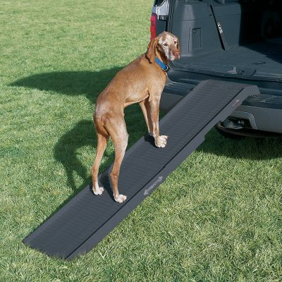 Hunting Make it effortless for your aging or injured dog to enter and exit your vehicle with the Petstep ll. The portable compact design measures only 35 L when folded for easy stowing in any vehicle, yet it creates a full 70 L x 17 W ramp. Plus, it's extremely lightweight, with a weight of 18.5 pounds. And it's simple to use, just unfold and connect the universal (works with any vehicle) non-slip edge. No hardware or time-consuming setup is required. The ribbed surface with rubberized coating offers sure footing and will not rust, corrode or trap odors. And it washes clean with soap and water. The ultra-strong 500-pound capacity safely supports any dog. Color: Rust. - $174.99