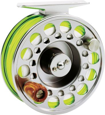 Flyfishing An innovative oversized ball bearing makes this one of the smoothest-operating reels youll ever fish. And a one-way clutch bearing lets you enjoy effortless retrieves even with the drag tightened. The large-arbor spool takes up line quickly and reduces line coil. A patented center disc-drag system ensures total drag control. Both the frame and spool are constructed of machined, anodized aluminum, and an easy-release switch makes it simple and quick to change spools. Converts for right- or left-hand retrieve. Type: Freshwater Fly Reels. - $129.95