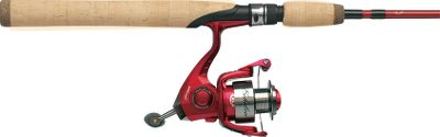 Fishing Reel features a machined-aluminum spool; five smooth-running stainless steel ball bearings; instant anti-reverse bearing; lightweight graphite body and rotor; anti-twist line roller; Sure-Click bail; and an aluminum handle with a soft-touch knob. Lightweight, sensitive rod is made of resilient IM6 graphite. It has a graphite reel seat with stainless steel cushioned hoods, a cork handle, stainless steel framed guides with aluminum-oxide inserts and a stainless steel double-foot hook keeper. Color: Stainless. Type: Spinning Combos. - $53.88