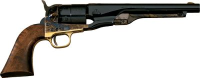 One of the most popular cap-and-ball, single-action revolvers ever made, the 1860 Army .44 was a mainstay in the Civil War as well as the weapon of choice for Texas gunfighter John Wesley Hardin and other gunmen. Piettas replica 1860 Army .44 Caliber Black Powder Revolver boasts a brass trigger guard, color case-hardened steel frame, round barrel and walnut grips. Theres also a naval battle scene laser-engraved on the cylinder. Barrel length: 8. OAL: 13-3/4. Wt: 2 lbs., 10 oz. Color: Black. Type: Pistol. - $279.99