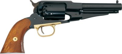 The Remington Model 1858 was one of the most powerful and rugged single-action revolvers of its day. Easily removable, replaceable cylinders made reloading extremely fast. A compact version of the original, the realistic Pietta Model 1858 New Army .44 Caliber Black Powder Revolver boasts the same performance with a polished brass trigger guard, blued steel construction, octagonal barrel and walnut grips. The 5-1/2 barrel makes it easier to holster and handle. Barrel length: 5.5. OAL: 12.25. Wt: 2.625 lbs. Color: Black. - $199.99