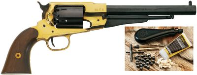 Due to a lack of raw materials in the 1800s, the South was forced to produce the famous 1858 Remington revolver out of brass. Pietta celebrates manufacturing genius with the Model 1858 New Army Brass Frame .44 Caliber Black Powder Revolver. The single-action revolver has a brass frame and trigger guard, blued cylinder, octagonal barrel and walnut grips. Easily removable, replaceable cylinders make reloading extremely fast. Starter Kit includes: a nipple wrench, straight line capper, adjustable powder measure, powder flask, 30 lead round balls, 30 3mm-thick lubed wads and 30 10mm-thick lubed wads. Barrel length: 8. OAL: 14.5. Wt: 2.75 lbs. Color: Black. Type: Black Powder Revolvers w/Starter Kit. - $279.99