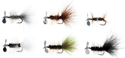 Fishing Trout, salmon and steelhead love these propeller-dressed flies. The six piece trout assortment comes in two hook sizes. Includes one of each color. Available: Trout #6 hook. Colors: Black Panther, Brown, Olive, Skunk, Rainbow, Double Renegade. Trout #10 hook. Colors: Black, Brown, Green, Yellow, Gold Sparkle, Last Supper. Color: Rainbow. Gender: Male. Age Group: Adult. - $7.88