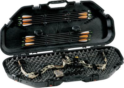 "Hunting Maximum all-weather protection, priced right! By the time your bow is set up to your satisfaction, you've made a major investment. Guard it with a case that guarantees total bow protection. Patented PillarLock protection supports the center of the case, directly above and below your perfectly tuned sight and rest. A rubber gasket seals the case from dust, rain and snow. The lid has elastomer arrow keepers for 12 carbon or aluminum arrows. Made of impact-resistant resin with a thick, high-density foam lining. Multiple-position tie-downs secure nearly all traditional and parallel-limb compound bows up to 43"" axle-to-axle. Dimensions: 48""L x 21""W x 7-1/2""H. Type: Bow Cases. - $99.88"