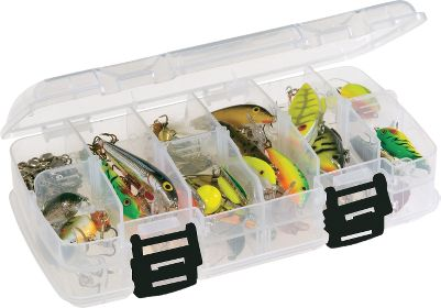 Fishing Get your fishing tackle organized with this double-sided utility box. It can be configured into 12-18 compartments to hold hooks, sinkers, jigs, plastic worms, crankbaits and other small items. - $7.99