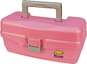 Fishing In a world of bland-colored tackle boxes, these Plano models really stand out. Pink tackle box has a convenient lift-out tray for easy access. Pink/Purple tackle box has two trays. Both have a main storage area at bottom for bulky items and secure latches.Available: Pink (13.5L x 7W x 6H), Pink/Purple (14.25L x 8.5W x 7.75H). - $8.88