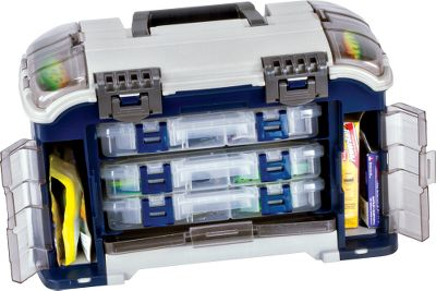 Fishing Open its front and discover that the main compartment presents three Stowaway utility boxes at a 15 angle for super-easy access and never-fall-forward security. Dual side storage and dual lid storage compartments feature Duraview doors, so you can see and find what you need quickly. The bulk storage compartment, strategically located under the top lid, is secured by extra-sturdy latches. Dimensions: 18L x 9.5W x 11H. Color: Blue. Color: Blue. Type: Tackle Boxes. - $54.99