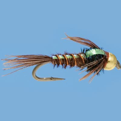 Flyfishing Pheasant-tail nymphs have always been a first-rate fly for imitating small mayfly and stonefly nymphs. The naturally segmented look of the pheasant tail along with the right texture makes these flies super-realistic. Adding a bead-head to this time-tested pattern only improved its success rate. It now sinks faster to get down to the bottom where the trout are and the glitter from the brass bead also aids in attracting a hungry trout's attention. Per 3.Sizes: 12, 14, 16, 18, 20. Type: Wet Flies. - $5.79