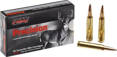 Hunting Make the most of every trigger pull with PMC Precision ammunition. It offers accuracy and performance that hand loaders will be hard pressed to replicate. PMCs precision-drawn cases are loaded with genuine Hornady bullets using stringent manufacturing practices. These exacting standards translate to exceptional accuracy down the barrel and downrange. Per 20. - $19.99