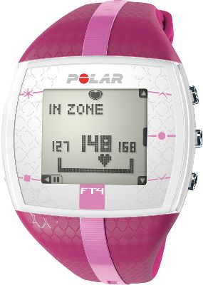 Fitness Packed with motivating features to keep you on track, the FT4F is a sure-fire ticket to better health and wellness. It displays your heart rate as a percentage of your maximum heart rate, beats per minute and within a graphical target-zone indicator so you see results as they happen. Polar OwnCal shows your energy expenditure as well as your accumulated calories burned over several exercise sessions perfect for achieving both short- and long-term goals. Visual and audible alarm for when you exceed or dip below your target zone. Watch includes comfortable transmitter with a coded heart-rate transmission that avoids crosstalk. Time display with alarm and snooze. Water-resistant to 30 meters. Case diameter: 38mm. Color: Purple/Pink. Color: Purple/Pink. Gender: Female. Age Group: Adult. - $99.99