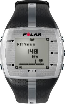 Fitness Burn fat in record time with the Polar FT7 Heart-Rate Monitor Watch featuring innovative EnergyPointer software that keeps you in the zone longer. KeyLock technology prevents accidental presses perfect for staying on track during those tough workouts. Easy-to-read display with backlight. Display text in English, German, Finnish, Swedish, French, Portuguese, Spanish or Italian. Time of day with alarm and snooze. Date and weekday indicator. Dual time zone. Low-battery indicator. Watch includes comfortable transmitter with a coded heart-rate transmission that avoids crosstalk. Water-resistant to 30 meters. Case dia: 38mm. Color: Black/Silver. Color: Black/Silver. Gender: Male. Age Group: Adult. - $119.99