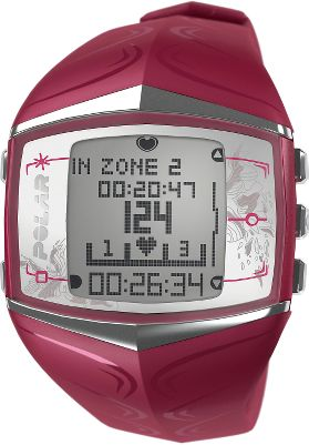 Fitness Exercise too hard and youll overtrain and quit before you reach your goal, but make it too easy and youll never get there either. The Polar FT60 Womens Heart-Rate Monitor Watch solves this problem by checking your daily conditioning and then guides you to the ideal training level. Polar Star personalized training program adapts to your workout habits by giving you weekly training targets and providing constant feedback its like having your own personal trainer. Polar OwnCal shows your energy expenditure as well as your accumulated calories burned over several exercise sessions. Displays heart rate as beats per minute and as a percentage of the maximum heart rate. Visible and audible alarm informs you every time your heart rate exceeds the upper limit or falls below your target zone. Time-in-target-zone feature calculates the amount of total training time spent in your personal target zone so youll have a challenge day after day. Alarm with snooze and stopwatch. Water-resistant to 30 meters.Case diameter: 38mm.Color: Purple. - $239.99