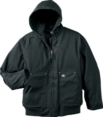 Hunting When your work takes you out into the cold, you need a warm jacket that moves with you. Constructed of 12-oz. 100% cotton duck for tough durability, this jacket boasts a fully gusseted bi-swing back and four-piece sleeves with articulated elbows deliver a natural ease of movement. The attached hood and the entire interior is equipped with a soft fleece lining backed by a bonded layer of heavyweight, polyester fiberfill insulation for superior heat retention. Rivets at all stress points add durability. Recessed storm cuffs seal warmth in. Fleece-lined handwarmer pockets and two interior pockets. Heavy-duty front zipper. Machine washable. Imported.Sizes: S-5XL.Colors: Black, Saddle, Moss (not shown). - $34.88