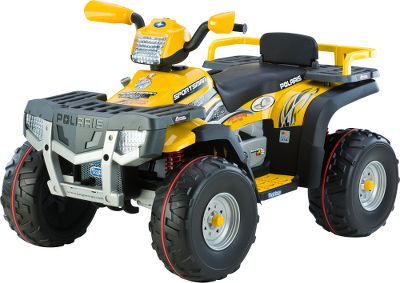 Motorsports Your youngster will conquer trails and terrain with his or her own Polaris Sportsman 850. This extreme performance ATV delivers tons of fun for any 5 to 10-year-old, and theres even a flip-up backrest for a second passenger. This 24-volt SuperPower ATV has the SmartPedal variable-speed accelerator for a smooth ride, increased riding time and maximum control. Theyll really enjoy the 850s rugged shock-absorbing suspension and knobby traction wheels as they cruise at 3.5 or 7 mph. There are front and rear luggage racks. 24-volt rechargeable High Output battery and charger included. Assembly required. Made in USA.Weight capacity: 150 lbs (total, all riders). Dimensions: 51.5L x 33.5W x 33.5H. - $584.99