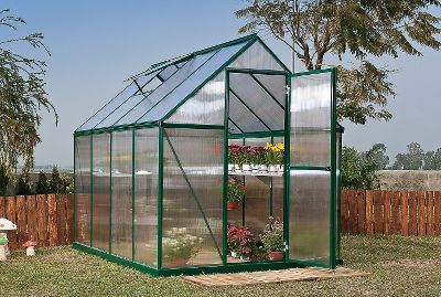 Camp and Hike Save money by starting your plants early from seed and extend your season by protecting plants from fall frosts with these easy-to-assemble greenhouses.Each has a rugged, rust-resistant, bolt-together aluminum frame. Twin-wall 4mm polycarbonate panels provide twice the amount of heat retention of single-layer panels. Plus, all come standard with a swinging front door, rain gutter, roof vent and galvanized-steel base kit. Conserve water by using the downspout to collect rainwater. Available in standard silver or natural green powder-coated finish. Available: 8L x 6W, 6L x 6W. Colors: Green, Silver. Color: Natural. Type: Greenhouses. - $799.99