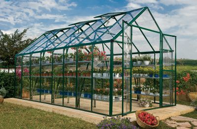 Camp and Hike Featuring a heavy-duty aluminum frame and a SmartLock connector system, this all-climate greenhouse assembles quickly with minimal hardware. Clear SnapGlas greenhouse panels lock into place easily and provide visibility for tracking plant growth. A split-style, pre-assembled door offers easy access and ventilation. Pre-assembled windows with weather stripping for easy setup. Imported. Available: 8L x 8W 12L x 8W 16L x 8W 20L x 8W 4L x 8W Extension Kit Size: 8X8. Color: Clear. Type: Greenhouses. - $1,499.99