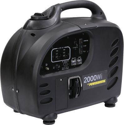 Motorsports Built-in inverters and low-noise motors make Powerhouse generators perfect for campgrounds, tailgating and at-home use. Available: 500Wi A compact generator thats rated for producing 450 watts (max 500 watts). Built-in inverter for safe use with electronics. Low-noise 0.9hp motor. Variable and constant speed controls for managing fuel economy and power output. 0.37-gallon fuel tank. Automatic low-oil shutdown. Carry handle. Includes oil jug, 12-volt charging cable, spare spark plug, spark plug wrench, oil drain extension and manual. Dimensions: 14.1L x 8.2W x 12.6H. Weight: 21.38 lbs. 2000Wi This generator features a low-noise, 4.3hp motor thats rated for producing 1,900 watts (max 2,000 watts). Built-in inverter for safe use with electronics. Variable and constant speed controls for managing fuel economy and power output. 1.4-gallon fuel tank. Automatic low-oil shutdown. Carry handle. Includes oil jug, 12-volt charging cable, spare spark plug, spark plug wrench, oil drain extension and manual. Dimensions: 22L x 11W x 19H. Weight: 62 lbs. Size: 2000WI. Type: Generators. - $579.99