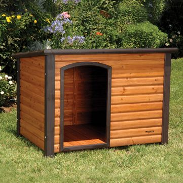 Hunting Solid-wood construction, easy assembly and a pleasing appearance make this the perfect choice for a backyard shelter for your dog. The raised floor keeps your pet dry, allows air to circulate underneath the house and is removable for quick cleaning. The wood is coated with cedar-colored stain to protect it from the elements, while the roof is pitched so rain and moisture drain off the back. Size: Large (45-1/2 L x 33 W x 33 H). - $269.88
