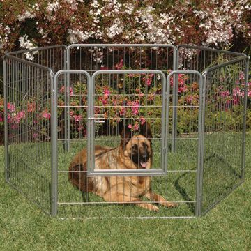 Hunting Get a kennel that fits the space you have for your dog with the versatile Courtyard Kennel. It has six 38 high, 3-ft. wide panels that can be configured into multiple patterns to fit a variety of spaces. They also allow for unmatched storage options when not in use. The panels total 18 ft. in length and have one built-in gate for access. The durable, rust-resistant galvanized steel panels with decorative silver crackle finish can be set up indoors or outdoors. The kennel has both short and long removable corner pins. The long pins stake down the kennel on soft ground, while the short pins are perfect for hard surfaces. Plus, the pins slide-down design allows for quick assembly with no tools required. They also allow for panels to be added or removed to adjust the size and configuration of the kennel. No exposed screws, wires or pins keep your dog safe and injury-free while confined. Color: Silver. - $239.99