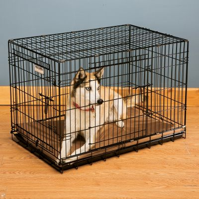Hunting Instinctively, dogs want a personal territory and safe, secure comfort zone of their own to fulfill their need to den. The Great Crate wire dog crate provides just that. It gives your dog his own bedroom with a good view for you and him, along with proper air circulation and ventilation. Its easy to clean, an essential feature since dogs prefer to keep their sleeping area clean and dry. The double doors (one on the end, one on the side) offer flexbility for use in the car or at home. The rounded corners and closer wire spacing are safer and provide increased strength. The unit comes fully assembled and ready to use with a leakproof plastic pan, an essential for housebreaking. Convenient carry handle for transport. Collapses down in seconds. Available: Black Epoxy coating. Sizes: 36 36L x 23W x 26H. 42 42L x 28W x 31H. Size: 36. Color: Black. - $82.49
