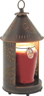 Entertainment Warming lamp melts the top of the candle releasing fragrance within minutes, and creates the cozy glow of a burning candle. Antique finish and charming country patterns add to the appeal. Use with 22-oz. or smaller candles. Rocker-switch operation. 120 volt. Dimensions: 6.1L x 6.1W x 13.75H (6.5H for candle). Weight: 2 lbs. - $39.99