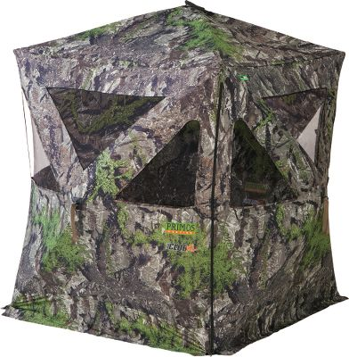 Hunting Sized for two standing bow or rifle hunters, the Club series offers a spacious floor plan and convenience-driven features like built-in gear pockets and a special pouch inside for ground stakes. DuraMatte HD polyester-brushed fabric for a natural, low-sheen look. Brush Deception brush holders on the roof for easily adding sticks and vegetation. Fast-access SS Hook blind windows offer secure, quiet operation. Max-View window openings for optimal shooting and scouting. Light/scent blind base flaps and Phantom Pro dark interior. Includes replaceable shoot-through mesh window panels and six ground stakes. Imported. Dimensions: 72H x 58W x 58D. Weight: 23 lbs. Hub to hub: 77. Camo pattern: Ground Swat Grey. Color: Natural. - $159.99