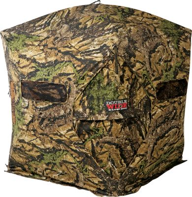 Hunting No more noisy zippers, no more tripping or snags with gear its zipperless, double-wide door has a 48.5H x 29W opening for fast, silent entry, even with bulky packs and gear. Sized for two bow or rifle hunters, this blind also features a panoramic 180 full-front view with the adjustable Silent Slide window system. SS Hook blind windows offer fast, silent operation and a secure hold. The Power Hub frame offers long-lasting durability and easy tightening for less wind flap. Its rotating, locking hub is built with high-strength magnesium and an overmolded design to prevent pinching. The new hub design reduces force required for opening by 50%. Light/scent blind base flaps and blackout black interior. Includes replaceable shoot-through mesh window panels, four heavy-duty ground stakes, and a deluxe, oversized carry bag. Manufacturers lifetime warranty. 77 hub to hub. Dimensions: 72H x 60W x 60D. Weight:27 lbs. Camo pattern: Ground Swat. Color: Blackout. - $324.88