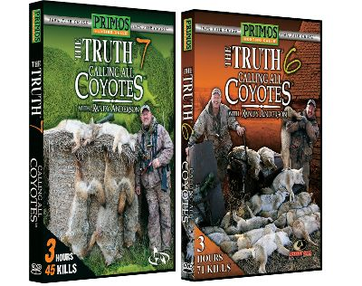 Hunting The Primos 100% Wild Fair Chase Series delivers incredible coyote-hunting action. Made in USA. Available: The Truth Volume 8 Has it all mouth- and electronic-calling techniques, long-range shots and close-up action. 58 kills total. 180 minutes. The Truth Volume 9 Provides plenty of action calling in coyotes, bobcats and fox with pointers for calling in predators. 180 minutes. The Truth Volume 10 Jam packed with fast-paced predator-hunting action and calling techniques that brings them running. Watch the crew call in coyotes, bobcats and fox. 180 minutes. The Truth Volume 11 Join the crew as they continue to speak the language of the coyote. Enjoy the hunts while learning new tactics. 51 kills. 185 minutes. Color: Coyote. - $7.88