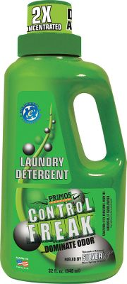 Hunting Primos Control Freak Laundry Detergent is a dual-action, scent-control product that controls bacteria-caused odors, like body odor, and nonbacterial odors including smoke and food odors. It works on contact to instantly reduce odors on clothing and equipment, and keep them away for up to 24 hours. Safe for all fabrics and high-efficiency washers. Size: 32-oz. bottle. - $14.99