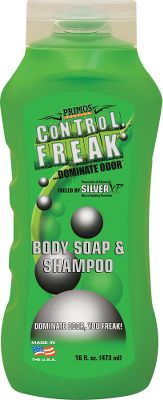 Hunting Primos Control Freak Body Soap and Shampoo is a dual-action, scent-control product that controls bacterial odors such as body odor, and nonbacterial odors including smoke and food odors. It works on contact to instantly reduce odors on skin, and keep them away for up to 24 hours. Size: 16-oz. bottle. - $9.99