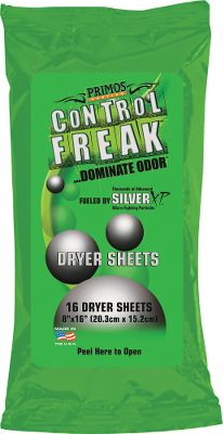 Hunting Primos Control Freak Dryer Sheets are dual-action, scent-control products that control bacteria-caused odors, like body odor, and nonbacterial odors including smoke and food odors. They work on contact to reduce odors on clothing, and keep them away for up to 24 hours. 16 sheets per package. Type: Scent Control. - $7.99
