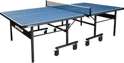 Camp and Hike Enjoy the quick-action fun of Table Tennis at home, in the garage or even in the backyard. Made to stand up to the elements, the tabletop has a 1/2 composite surface thats impregnated and sealed by a finish thats impervious to water. Weather coated and made of steel, its heavy-duty frame is built to last. Its two-piece design and 4 rubber wheels deliver easy-rolling mobility. Includes a durable, clip-on net. Official ITTF size. Some assembly required. Made in USA. Dimensions: 108L x 60W x 32H. - $849.99