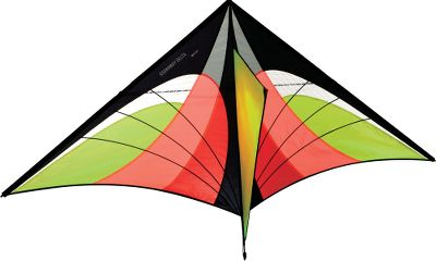 Camp and Hike Reach soaring heights with this high-flying, single-liner kite. The 5-ft. wing folds to a packable 18 for easy travel in a briefcase or backpack. The durable fiberglass frame will withstand violent and light winds alike (from 5 to 20 mph). The counterweighted spine gives it extra stability in stronger winds. Its ripstop nylon and mylar laminate sail, combined with its high-flying angle make reaching maximum altitude a breeze. Bungees inside frame make assembly a snap. For beginner to intermediate skill levels. Includes 200-ft., 30-lb. braided Dacron line. Imported.Available: Citrus, Fire. - $39.99
